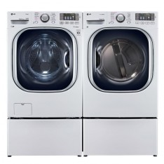 LG 7.4 cu. ft. Gas Dryer with True Steam in White & 4.5 DOE cu. ft. High-Efficiency Front Load Washer with TurboWash in White, ENERGY STAR