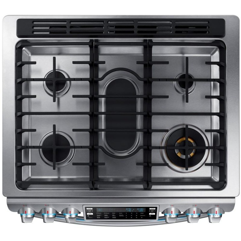 slidein double oven gas range with convection oven