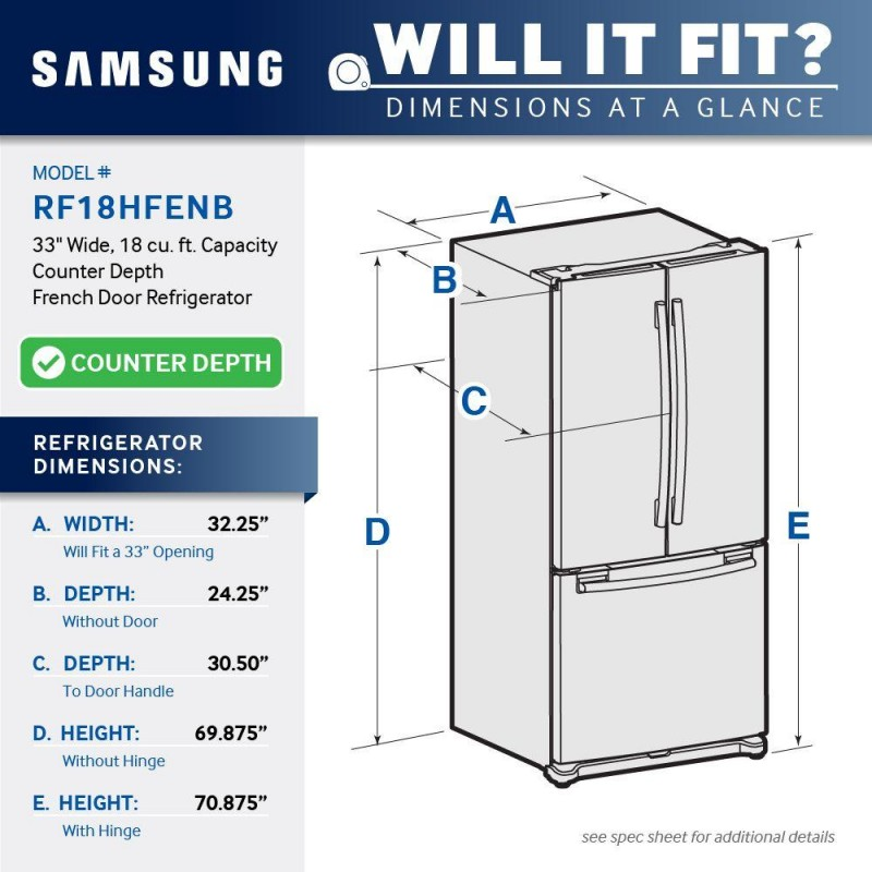 Samsung Rf18hfenbsr 33 In W 175 Cu Ft French Door Refrigerator