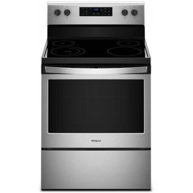 Whirlpool WFE505W0HZ 30 Inch Freestanding Electric Range with 5 Elements, Smoothtop Cooktop, 5.3 cu. ft., in Stainless Steel