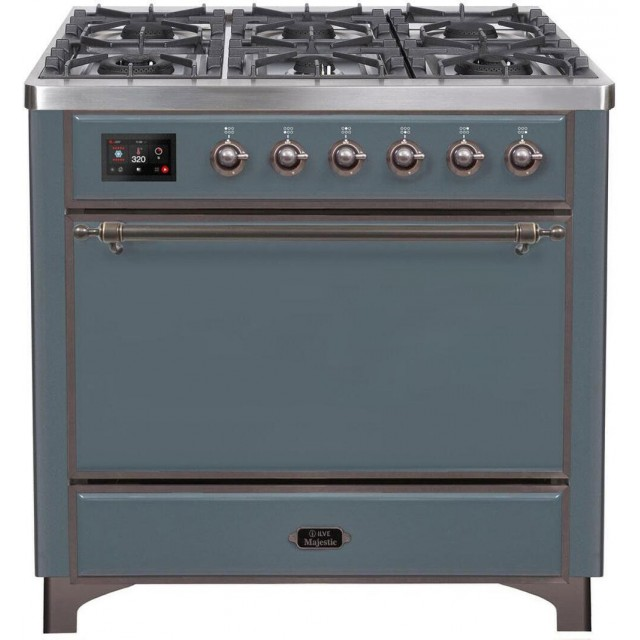 Ilve Majestic II Collection UM09FDQNS3BGBLP 36 Inch Freestanding Gas Range with 6 Sealed Burners, 3.5 Cu. Ft. Capacity, Warming Drawer, Continuous Grates, Fast Pre-Heat, Self-Clean, Griddle, and Nano-Tech Non-Stick Coated Burners: Blue Grey with Bronze Tr