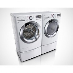 LG 7.4 cu. ft. Gas Dryer with Steam in White, ENERGY STAR & 4.5 cu. ft. High Efficiency Front Load Washer with Steam in White, ENERGY STAR