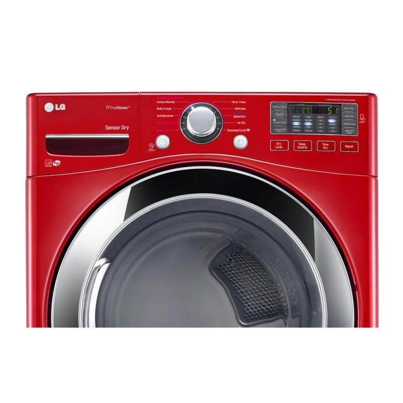 lg dlex3370r 74 cu ft electric dryer with steam in wild cherry red energy star