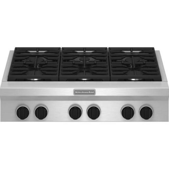 KitchenAid KGCU467VSS 36-inch 6 Burner Gas Rangetop, Commercial-style Stainless Steel