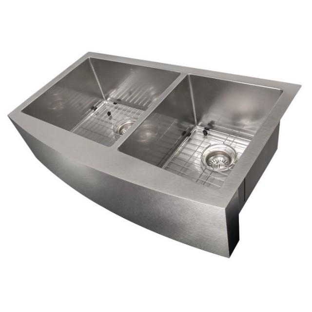 ZLINE Courchevel Farmhouse 36 Inch Undermount Double Bowl Sink in DuraSnow® Stainless Steel (SA60D-36S)