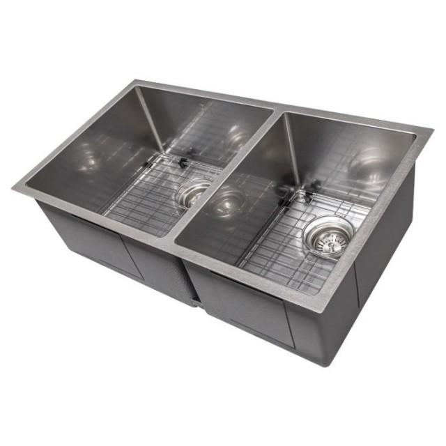 ZLINE Chamonix 33 Inch Undermount Double Bowl Sink in DuraSnow® Stainless Steel (SR60D-33S)