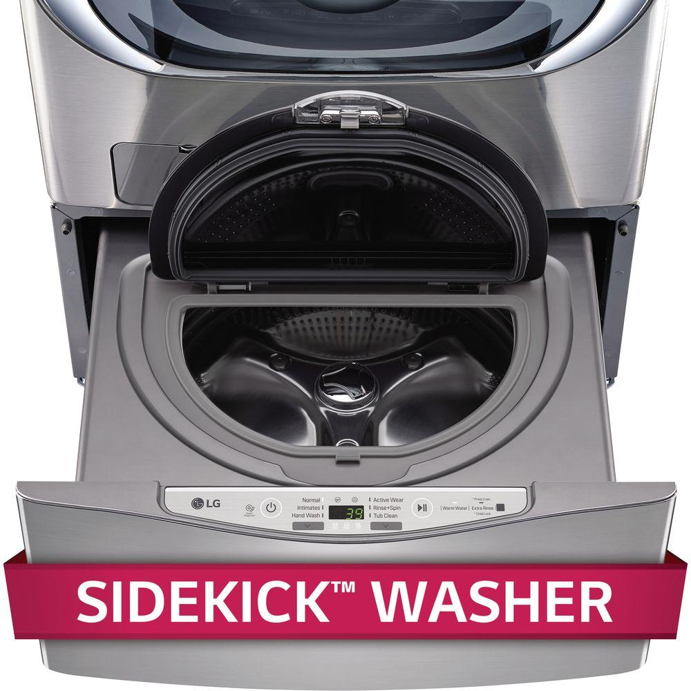3cf4529a33b791 Lg Wd200cv 29 In 1 0 Cu Ft Sidekick Pedestal Washer Graphite Steel. Front  Load ...