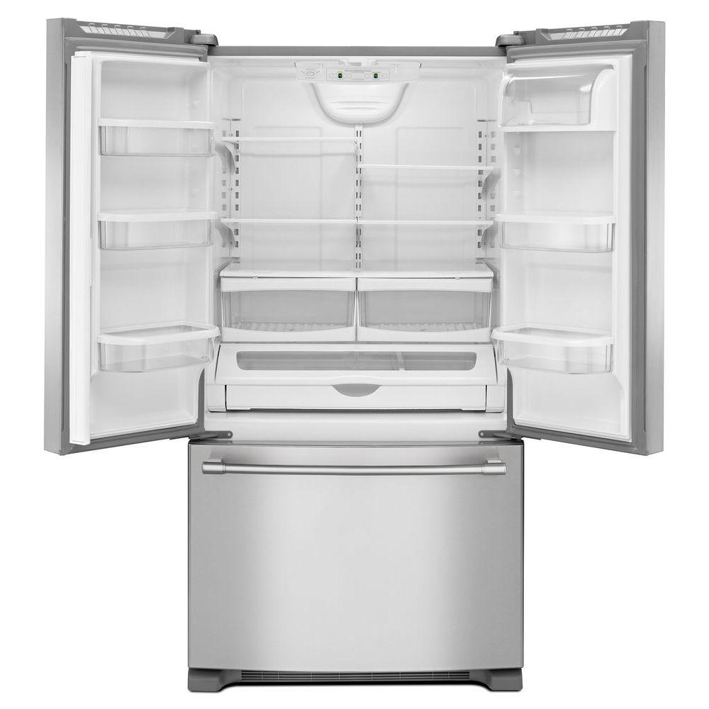 maytag mff2558fe 36 in 25 2 cu ft french door refrigerator in fingerprint resistant stainless. Black Bedroom Furniture Sets. Home Design Ideas