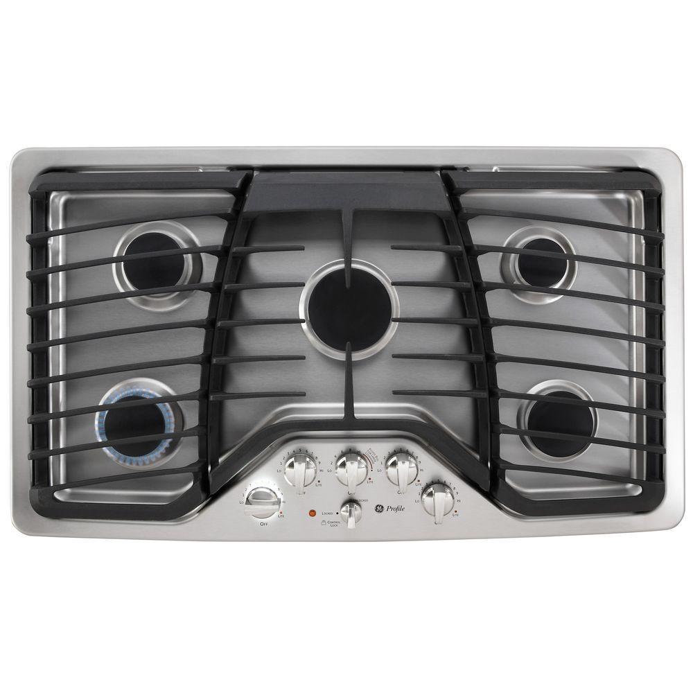 ge profile pgp976setss 36 in gas cooktop in stainless steel with 5 burners including power boil. Black Bedroom Furniture Sets. Home Design Ideas