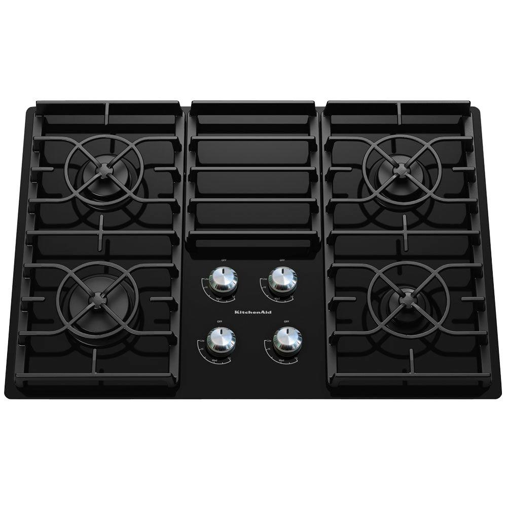 KitchenAid Architect Series II KGCC506RBL 30 In. Gas On Glass Gas Cooktop  In Black With 4 Burners Including 17000 BTU Professional Burner