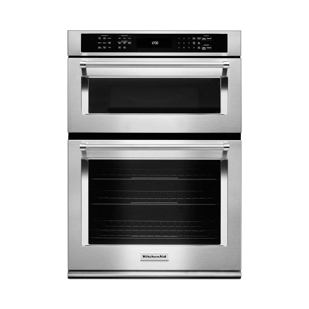 Kitchenaid koce500ess 30 in electric even heat true convection wall oven with built in - Kitchenaid microwave ...