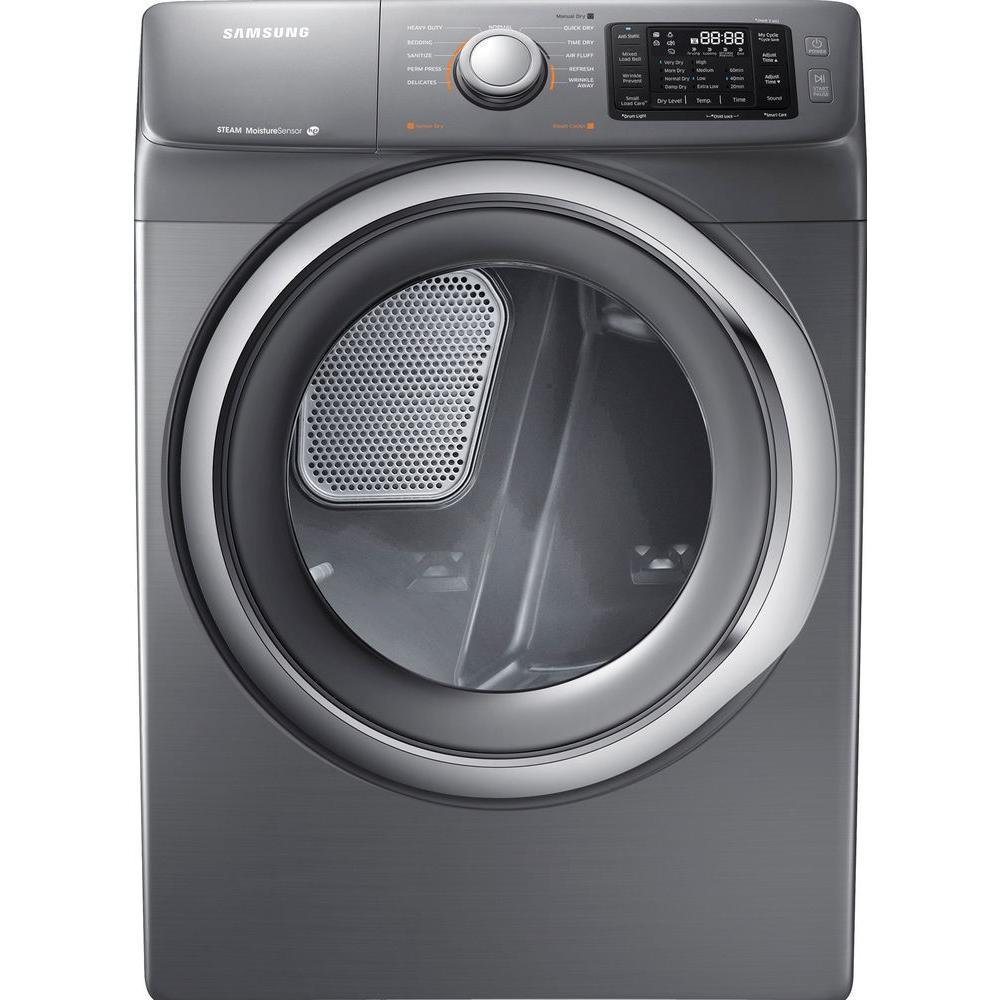 samsung dv42h5200gp 7 5 cu ft gas dryer with steam in platinum